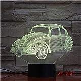 Wfmhra 7 Colori Che cambiano Scarabeo Classico Modello di Auto Lampada da Tavolo a LED 3D Pulsante di Tocco USB luci notturne del Veicolo Regali Decorazioni per Bambini 7