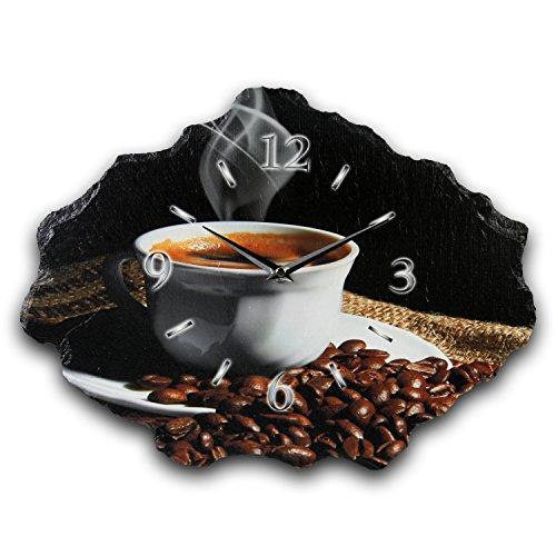 Kreative Feder Kaffee Designer Wanduhr Funkuhr aus Schiefer *Made in Germany leise ohne Ticken WS211FL