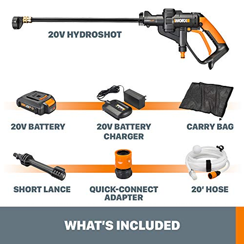 WORX WG629 Cordless Hydroshot Portable Power Cleaner, 20V Power Share Platform with Charger Included,Orange/Black