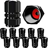 Tire Valve Caps (12 Pack) Heavy-Duty Stem Covers | Dust Proof, with O Rubber Seal | Hexagon Design | Outdoor, All-Weather, Leak-Proof Air Protection | Light-Weight Universal Aluminum Alloy ( Black )