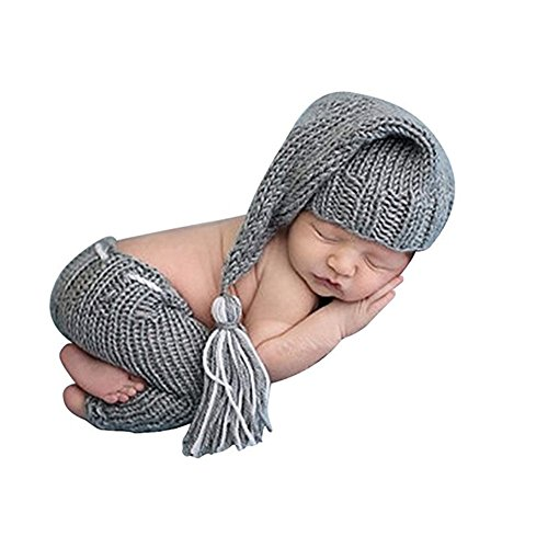 Lppgrace Newborn Photography Props Baby Boy Knitted Outfits Crochet Hat Pants Set Gray