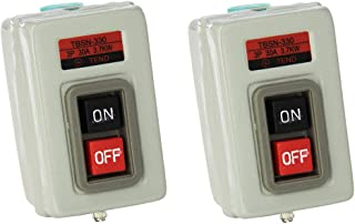 Liyafy 30A 3.7kW 3 Phase ON/OFF Self Lock Push Button Power Switch Mechanical Equipment Control Station 2Pcs