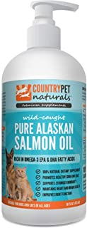Pure Wild Alaskan Salmon Oil for Dogs & Cats - 100% Natural Omega 3 Liquid Pet Food Supplement - EPA & DHA Fatty Acids Promote Healthy Skin & Coat, Support Stronger Immunity, Improve Joint Function