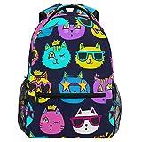 Oarencol Mochila colorida de dibujos animados de gato divertido anime bolsa de viaje senderismo camping escuela portátil