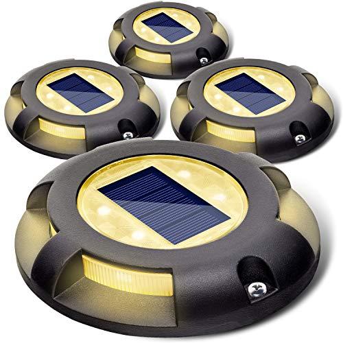 Siedinlar Solar Deck Lights Outdoor 2 Modes LED Driveway Markers for Dock Step Pathway Walkway Stair Garden Ground Road Yard Black 4 Pack (Cool White/Warm White)