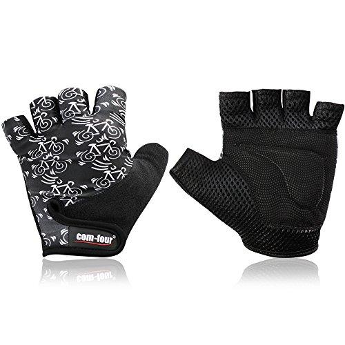Wilhelm Sell® rutschfeste Sport-Handschuhe für Fitness-Training und Fahrrad-Touren, Halbfinger-Handschuhe für Rad und Bike, Damen und Herren, Unisex (1 Paar - Größe L schwarz/weiß)