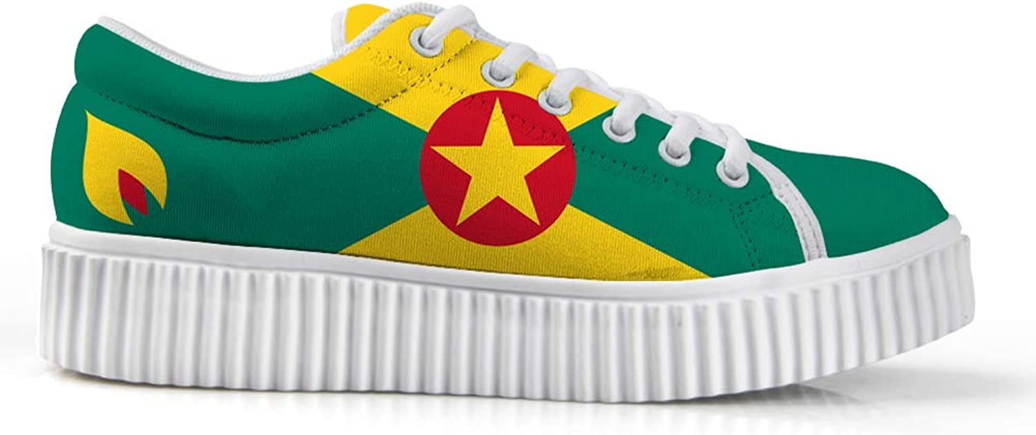 Owaheson Platform Lace up Sneaker Casual Chunky Walking shoes Low Top Women Grenada Flag