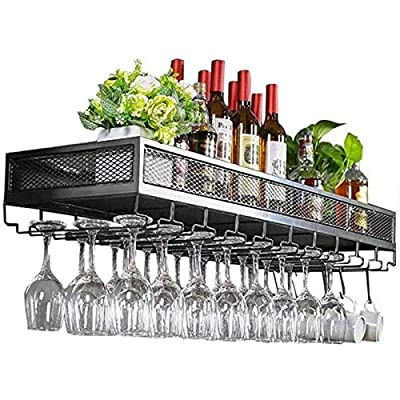 Yaad Bar Counter Floating Shelves Wine Rack Wall Rack, Bottle and Glass Rack, Antique Wine Rack, Loft Vintage Wall Rack Storage Rack,Black,60 * 35cm by Yaad
