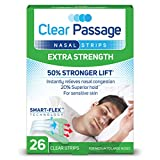 Clear Passage Nasal Strips Extra Strength, Clear, 26 ct | Works Instantly to Improve Sleep, Reduce Snoring, Relieve Nasal Congestion Due to Colds & Allergies