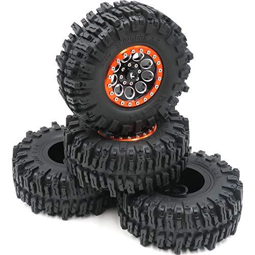 4pcs RC Crawler 2.2 Mud Slingers Tires Tyres OD 124mm & Aluminum 2.2 Beadlock Wheels Rims