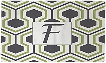 Manual Woodworkers & Weavers Dobby Bath Rug, 4 by 6-Feet, Monogrammed Letter F, Grey Honeycomb