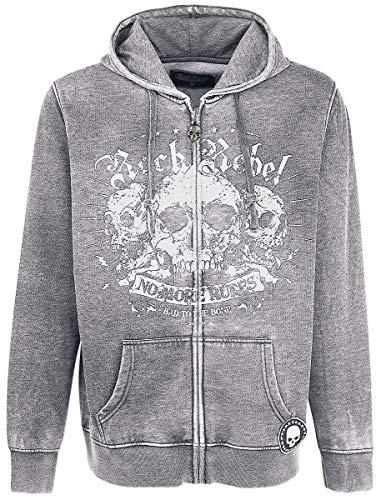 Rock Rebel by EMP Mask of Sanity Homme Sweat-Shirt zippé à Capuche Gris L