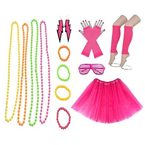 Amosfun 80s Outfit Womens Fancy Kostuums Accessoires Set Been Warmers Fishnet Handschoenen Neon Oorbellen Armband Kralen Tutu Rok Bril Party Accessoires 13 stks/set