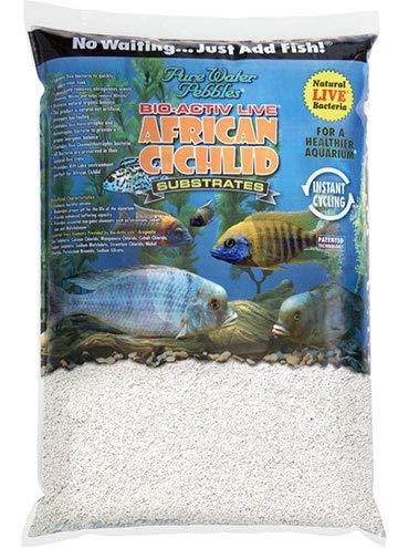 Pure Water Pebbles African Cichlid Bio-Activ Natural White Aquarium Live Sand for African Cichlids 20 LB.