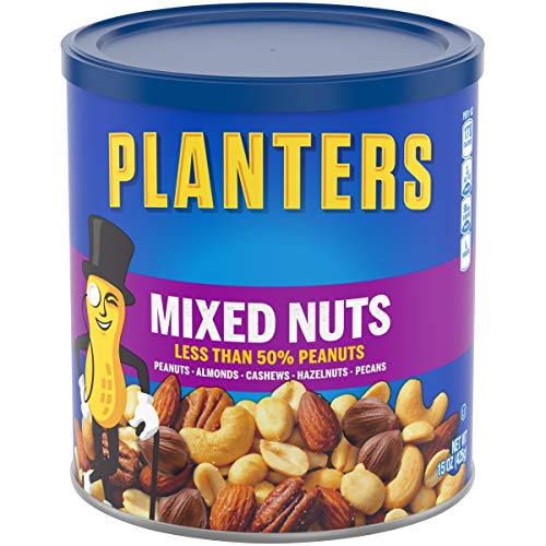 Planters Mixed Nuts (15 oz Canister) - Variety Mixed Nuts with Less Than 50% Peanuts with Peanuts, Almonds, Cashews, Hazelnuts & Pecans