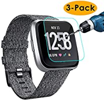 KIMILAR Screen Protector compatible with Fitbit Versa/Versa Lite (NOT FOR VERSA 2), (3 Pack) Shatterproof Shield...
