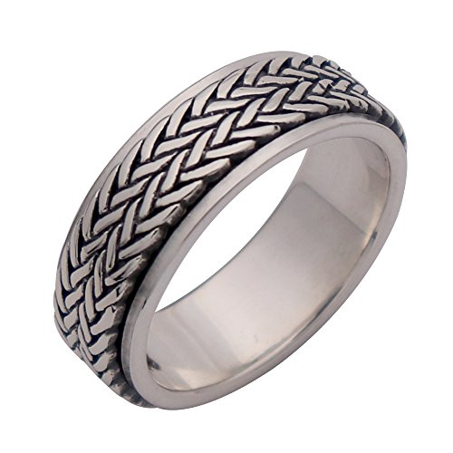 FORFOX Solid 925 Sterling Silver Thin Woven Spinner Ring Band for Men Women 8mm Size T 1/2