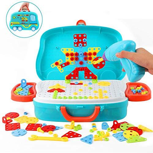 Ulikey 3D Mosaik Steckspiel Pegboard Puzzle, 135pcs Steckspiel Montessori Spielzeug mit Drillen, Pädagogisch Kreativ Spielzeug Mosaik Spiel Werkzeugkoffer Lernspielzeug für Jungen Mädchen