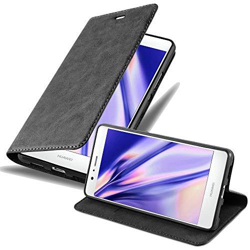 Cadorabo Hülle für Huawei P9 LITE in Nacht SCHWARZ - Handyhülle mit Magnetverschluss, Standfunktion & Kartenfach - Hülle Cover Schutzhülle Etui Tasche Book Klapp Style