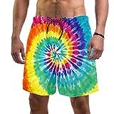 Bañador Hombre Remolino de Arco Iris Traje de Baño Secado Rápido Short de Playa Forro de Malla Pantalones de Baño para Bote Playa Piscina XL