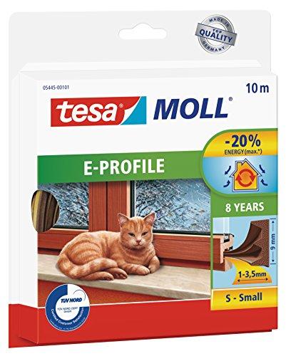 tesamoll E-Profil Gummidichtung - Selbstklebende Dichtung zum Isolieren von Spalten an Fenstern und Türen - Braun - 10 m x 9 mm x 4 mm