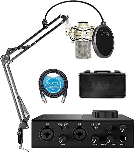 Native Instruments KOMPLETE AUDIO 2 USB Audio Interface for Windows and Mac Bundle with MXL 990 Cardioid Condenser Microphone, Blucoil Boom Arm Plus Pop Filter, and 10-FT Balanced XLR Cable