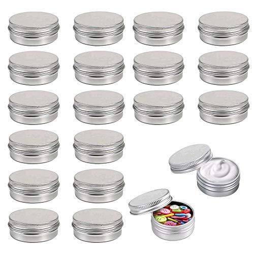 ManLee 20pcs Boîte Cosmetique Vide Pot Cosmétique Vide en Aluminium Pot de Vayage pour Baume à lèvres/Crème/Échantillons/Poudre/Lotion-15ml