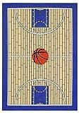 Furnish My Place 695 Basketball Blue Kid Play Area Rug for Bathroom, Playroom & Kindergarten Classroom, Basketball Court, Blue (3'3'x5')