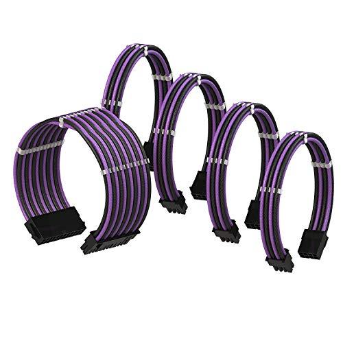LINKUP - PSU Cable Extension Sleeved Custom Mod GPU PC Braided w/Comb Kit┃1 x 24 P (20+4)┃2 x 8 P (4+4) CPU┃2 x 8 P (6+2) GPU Set┃30CM 300MM - PurpleBlack