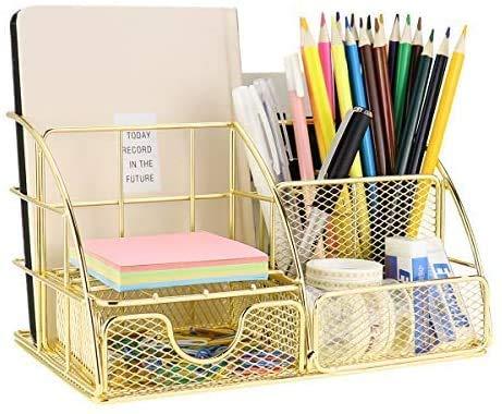 Wythe Organizador de escritorio, organizador de oficina en oro rosa con bandeja para cartas, soporte para bolígrafos, organizador de documentos y cajón, de metal para oficina(dorado, estilo 01)