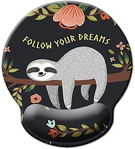 Memory Foam Mousepad with Wrist Support Design Ergonomic Mouse Pad Comfortable Wrist Rest Non-Slip PU Base Mouse Mat (Baby Sloth-Foam Wrist)