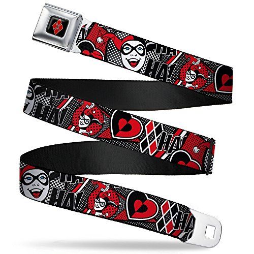 Buckle-Down Seatbelt Belt - Harley Quinn Poses/HAHAHA!/Diamonds/Hearts Halftone White/Black/Red - 1.5