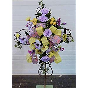 Spring Cemetery Cross, Cemetery Cross with Flowers, Grave Cross