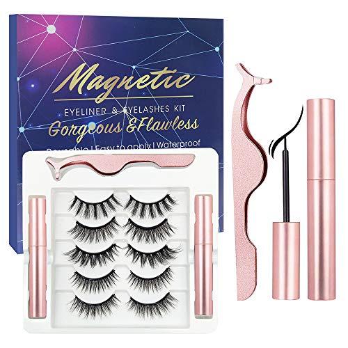 Magnetisch falsch,Magnetic Eyeliner,3D Künstliche Wimpern,Magnet Wimpern mit Magnetische Eyeliner Set,Wiederverwendbare Falsche Magnetic Eyelashes