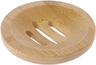 Fivekim - Portarrollos de madera natural con forma redonda de almacenamiento soporte de cuarto de baño estante portátil...
