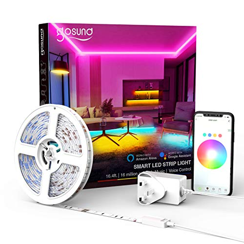 Smart LED Strip Lights,Gosund 5M(16.4Ft) 5050 RGB LED...