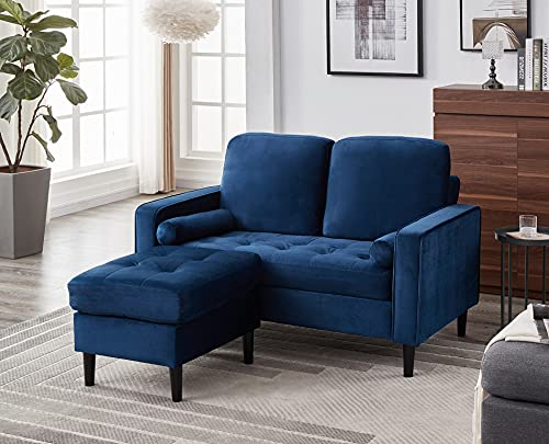 Panana Luxury 2 Seater Sofa with Footstool L Shaped Sofa Lounge Sofa Modern Velvet Fabric Sofa Couch Settee for Living Room Suite, Button Detailed Seat + Removable Footstool + 2 Free Cushions, Blue