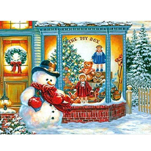 Lazodaer - Kit de pintura de diamante 5D para adultos, niños, decoración de oficina, habitación, hogar, regalo para ella, Papá Noel mirando a los niños fuera de la ventana, 39,7 x 30 cm