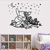 Pooh Tigger Star Gazing Moon Vinyl Sticker Nursery Classic Winnie Bear Decals Kids Room Decoration 66X42 Cm