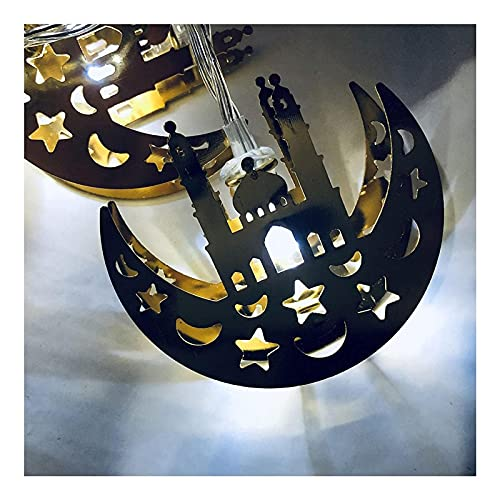 Ramadan Decorations String Lights 10/20 LED Lámpara con batería Eid Muslim Moon Star Hierro Forjado Decoración de iluminación para la Fiesta de la Fiesta para el hogar Decoración de jardín 10LED