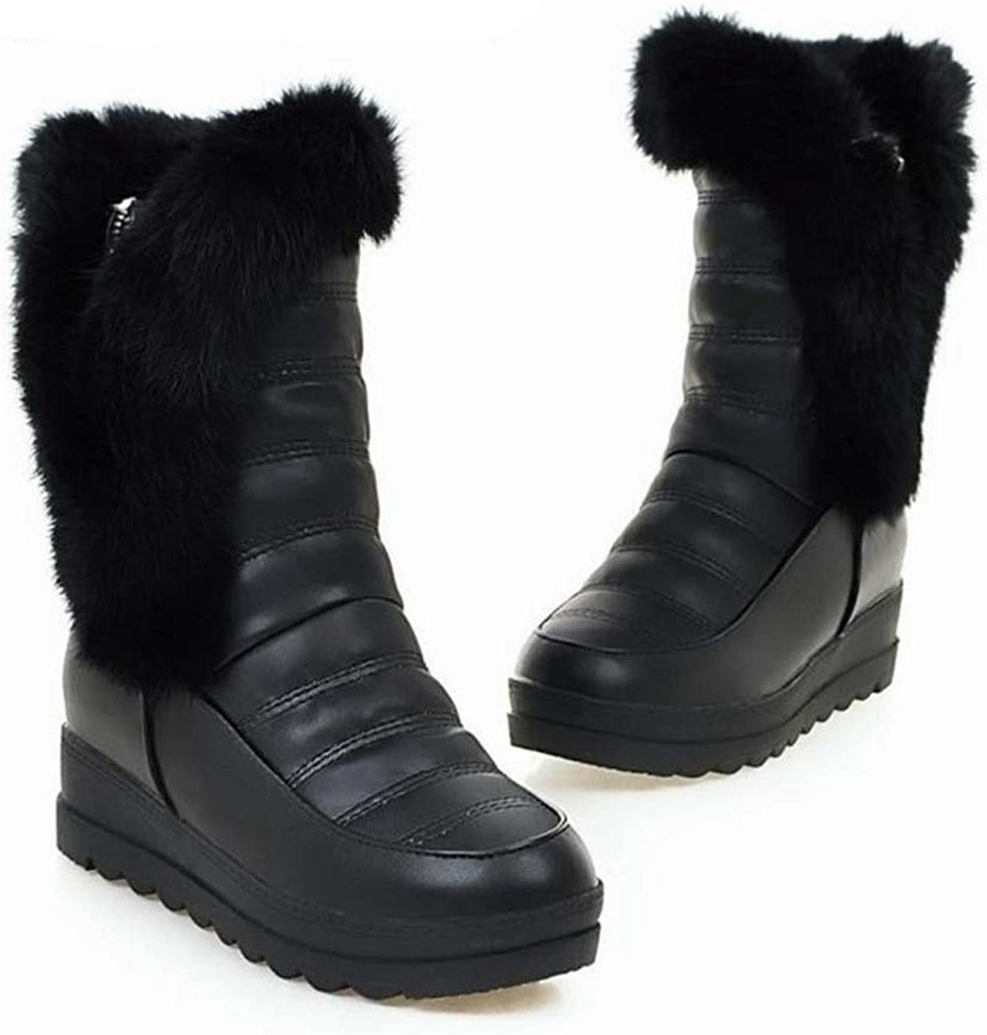 T-JULY Women Snow Boots Winter Warm Casual shoes Platform Leather Solid color Plush Non Slip Boots with Fur Lined Girls shoes