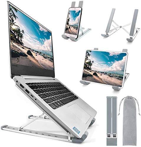 Laptop Ständer, Laptop Stand Halter Riser,Computer Ständer, Aluminium 9 Winkel verstellbare belüftete Notebook Ständer für MacBook Air Pro, HP, Lenovo, Dell, mehr 10-15,6-Zoll-Laptops (Silber)