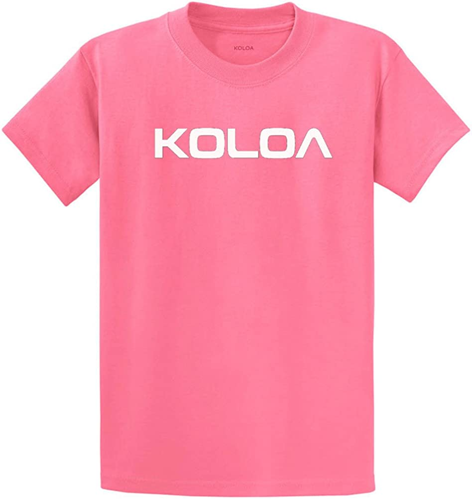 Joe's USA Koloa Surf(tm) Text Logo Cotton T-Shirts in Size 4X-Large Tall -4XLT Candy Pink
