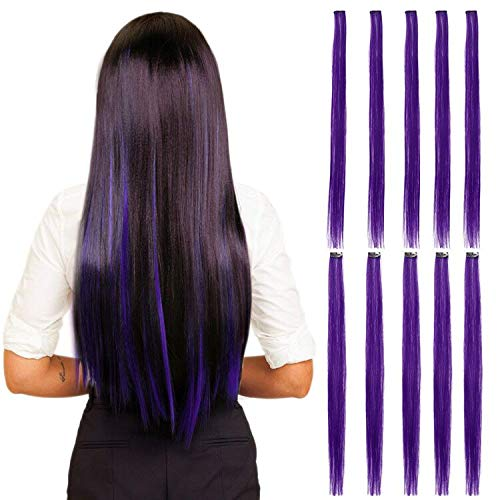 10pieces Colored Clip in Hair Extensions 24' Colorful Straight Clip In Hair Extensions Multicolored Party Highlights Streak Straight Synthetic Hairpieces (Purple)