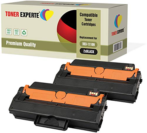 2-Pack TONER EXPERTE Compatible with 593-11109 Premium Toner Cartridges for Dell B1260dn, B1265dfw, B1265dnf