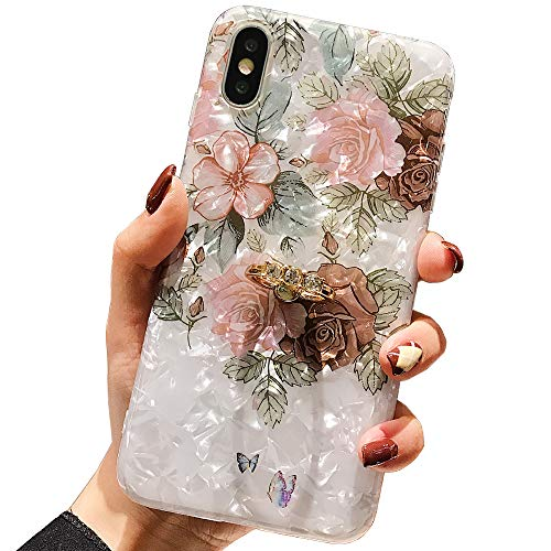 """Qokey Compatible with iPhone Xs Case,iPhone X Case Floral Cute Clear for Men Women Girls with 360 Degree Rotating Ring Kickstand Soft TPU Shockproof Cover Designed for iPhone X/XS 5.8"""" Brown Flower"""