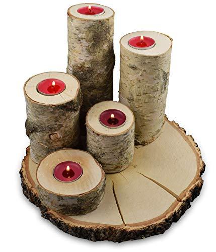 Teelichthalter-Set aus Holz mit einer Baumscheibe, 5-teilig | 4 Teelichthalter (20, 15, 12, 8 cm) für die Adventszeit, 1 Teelichthalter 4 cm, Baumscheibe Ø 25 cm als Unterlage, Birkenholz