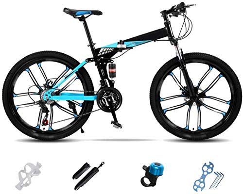 MQJ Lightweight Folding Mountain Bike Bike Foldable City Commuter Bike Men's Women's Mountain Bike 24 inch 26 inch Double Disc Bicycle,Vs,26