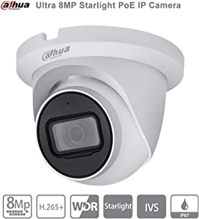 Dahua Starlight UltraHD 4K 8MP PoE IP Camera IPC-HDW2831TM-AS-S2 2.8mm Outdoor Security Turret Camera,3840×2160,Surveillance Camera with Built in Mic, SD Card Slot,30m Night Vision,H.265,IP67