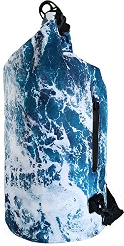SNAILMAN Waterproof Dry Bag for Women Men, 5L Roll Top Lightweight Dry Storage Bag Backpack with Phone Zipper Pocket, Swimming, Boating, Kayaking, Camping and Beach (Wave, 5L)
